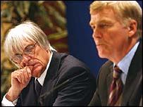 Bernie Ecclestone (right) disagrees with fellow boss Max Mosley's assessment of the effect of the F1 changes
