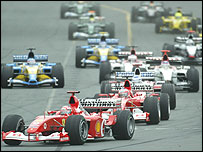Michael Schumacher leads the field at the start of the Australian Grand Prix