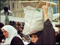 Iraqi woman collects Oil-For-Food rations