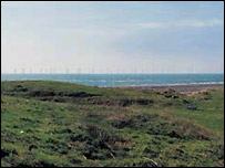 Computer-generated image of how the turbines may look from Walney Island