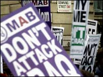 Muslim Association of Britain posters at February's anti-war demonstration