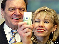 Germany's Chancellor Schroeder and his wife