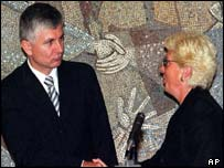 Zoran Djindjic and Hague chief prosecutor Carla del Ponte