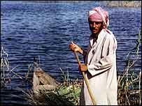 Marsh Arab with boat   BBC