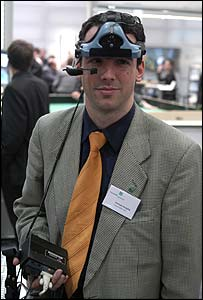 Man demonstrating virtual reality headset