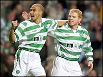Larsson and Lennon celebrate the Celtic goal