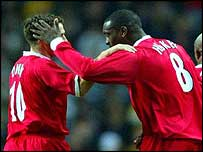 Michael Owen (left) and Emile Heskey celebrate Liverpool's equaliser