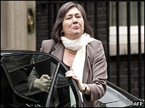 Clare Short outside 10 Downing Street