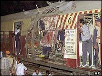 Damaged train Bombay blast