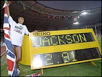 Colin Jackson celebrates his world record time to win the 1993 World Championships