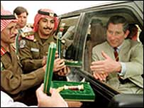 Prince Charles - and his now resigned aide Michael Fawcett (back) - in Saudi Arabia