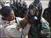 US troops checking nuclear biological chemical suits in Kuwait
