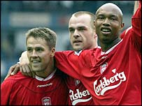 Liverpool players Michael Owen, Danny Murphy and El-Hadj Diouf