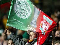 One of the many dual club flags flown at Celtic Park