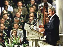 George Bush in the pulpit at the National Cathedral in Washington
