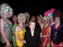 Anne Robinson with contestants on the drag queen special