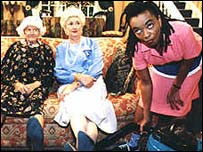 Publicity shot from South African TV series Madge and Eve