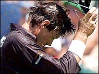 New Zealand captain Stephen Fleming after losing his wicket