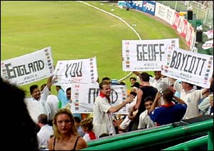 Fans hold banners saying 'England you need Geoff Boycott'