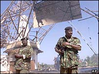 Kenyan soldiers on guard at the remains of the Paradise Hotel last year