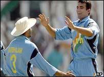 Zaheer celebrates a wicket