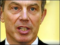 A strained-looking Tony Blair