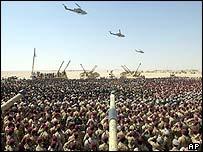 British troops gathered in Kuwait