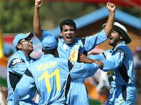 Zaheer Khan celebrates a wicket for India against New Zealand