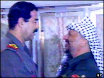 Saddam Hussein and Yasser Arafat, 1990