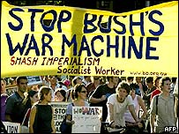 Protesters in Sydney carry anti-Bush banner