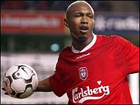 Liverpool striker El Hadji Diouf was caught on camera