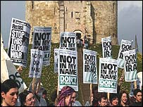 Protesters gathered at Cliffords Tower in York