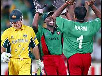 Karim celebrates Ponting's dismissal