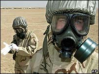 US troops in gas masks