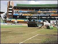 Groundsmen working at Port Elizabeth