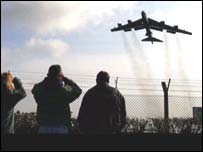 B52 bomber takes off from RAF Fairford