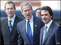 Tony Blair, George W Bush and Jose Maria Aznar