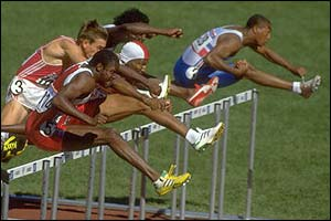 Colin Jackson on his way to silver at the Seoul Olympics in 1988