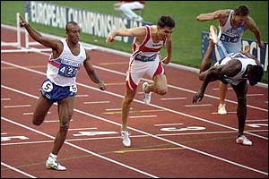 Colin Jackson takes the European title in 1994 with victory in Helsinki