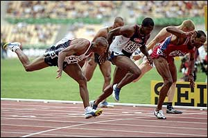Colin Jackson takes victory in the final of the 1999 World Championships in Seville