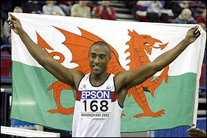Colin Jackson bids farewell to the crowd at the World Indoor Championships in Birmingham