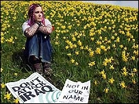 A protester at York, England