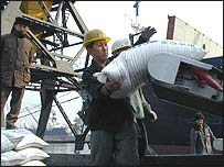 North Korean dock workers loading sacks of donated wheat onto a truck at Nampo port
