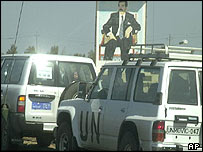 Weapons inspectors on their way to Tikrit, Saddam Hussein's heartland, on Monday