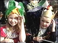 Two children enjoy the festivities in Belfast