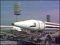 An Iraqi missile is paraded