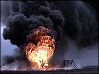 A Kuwaiti oil well on fire in 1991