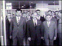 Saddam Hussein (left) with Gen al-Bakr (centre)