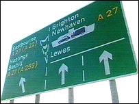 A27 road sign