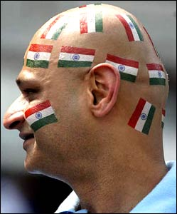 Indian fan with flag fixation